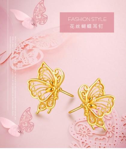 Gold butterfly earrings