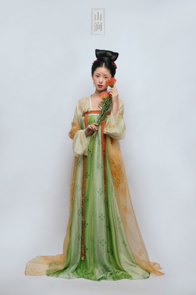 Handmade mulberry silk Tang Dynasty Hanfu women's clothing