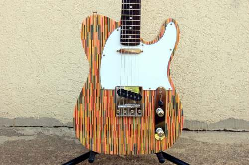 Telecaster style recycled skateboard guitar, custom handmade electric guitar with Squier pickups, gift for him, gift for her