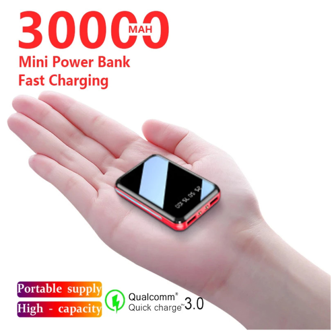 30000mAh Mini Power Bank Portable Phone Fast Charger USB Charging Charger External Battery Pack