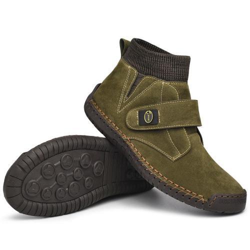 Men's mid-cut Martin boots large size retro short boots handmade velcro men boots