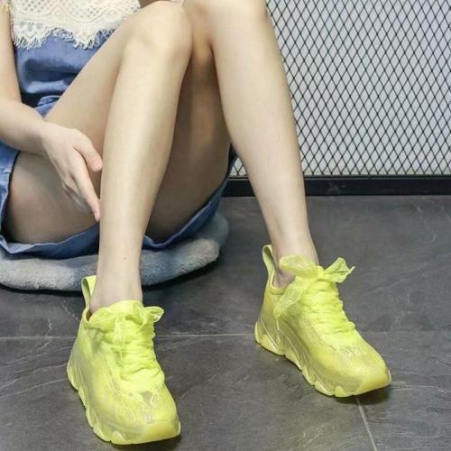 Ladies lace mesh platform sneakers