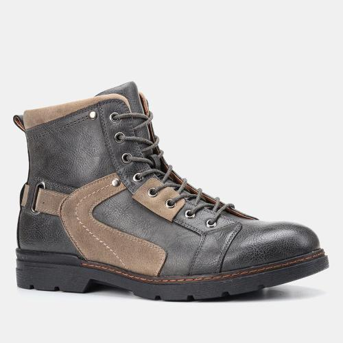 Mens vintage warm leather splice outdoor boots