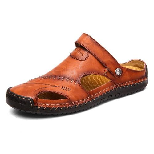 Large Size Men's Hand Stitching Closed Toe Comfortable Soft Leather Sandals