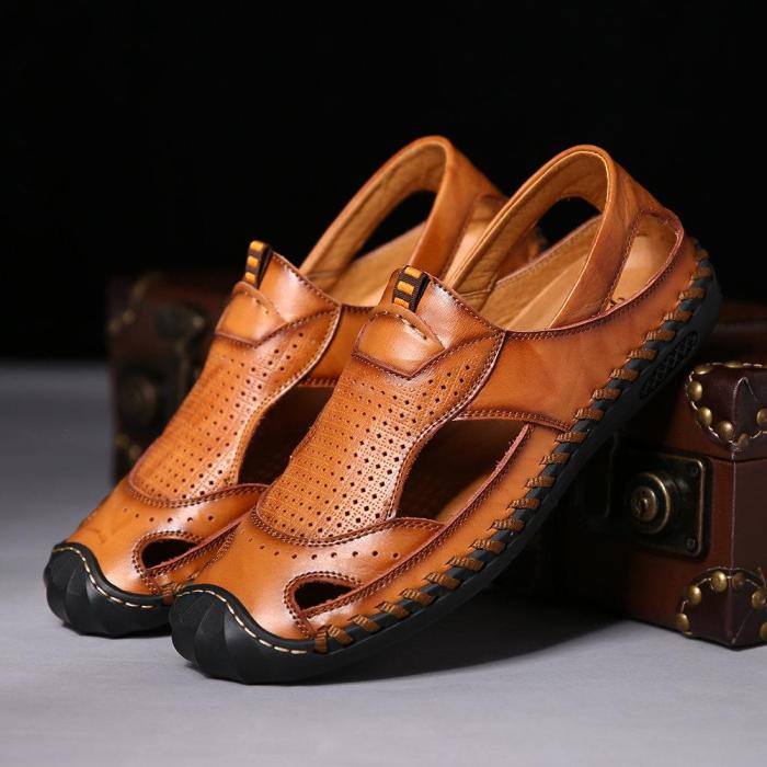 2021 Summer New Men's Shoes Cowhide Sandals Beach Shoes