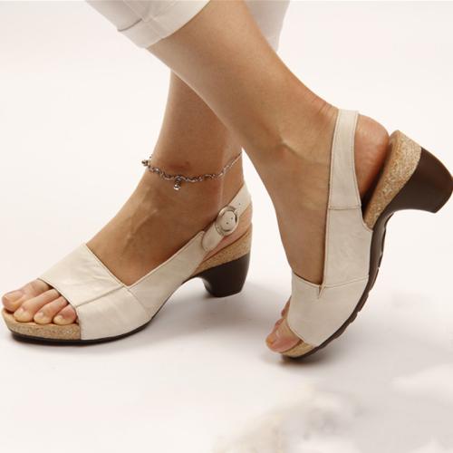 Women's elegant low and thick heel comfortable sandals