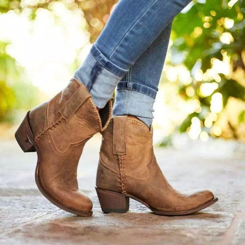 Women's Middle calf round toe slip-on casual boots