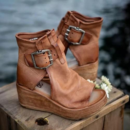 Women's retro PU buckle wedge sandals
