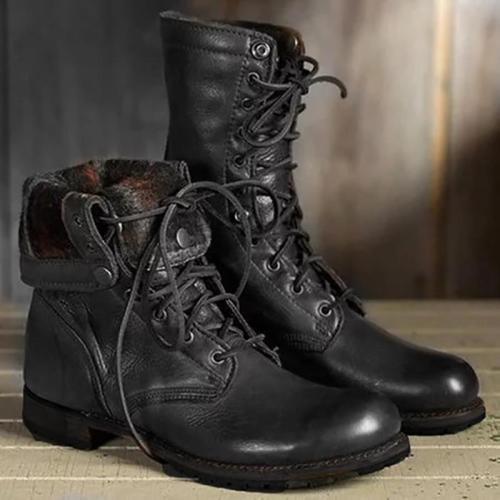 Couple Round Toe Low Heel Plain Boots
