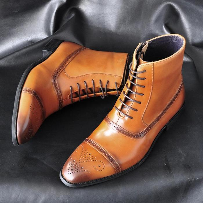 Men Side Zipper Lace Up High Top Leather Boots