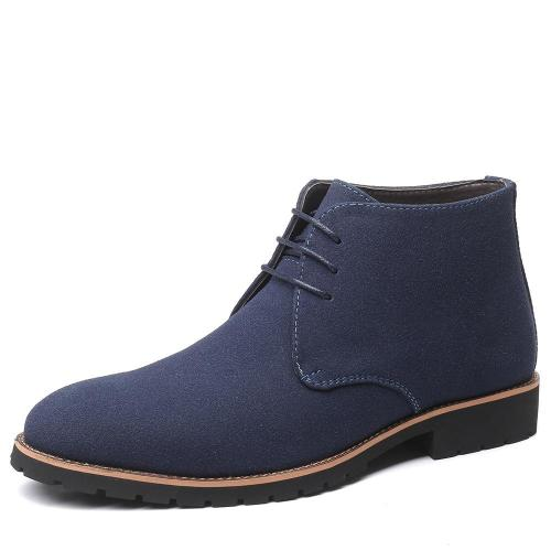 Fall Men'S Pointed Toe Casual Leather Boots Front Lace-Up Low Heel Frosted Martin Boots