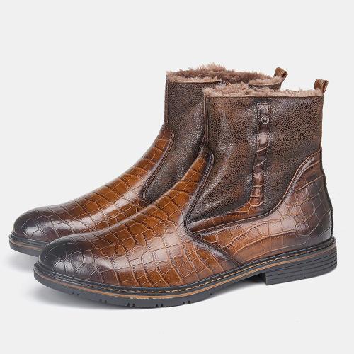 Mens vintage warm fleece leather ankle boots