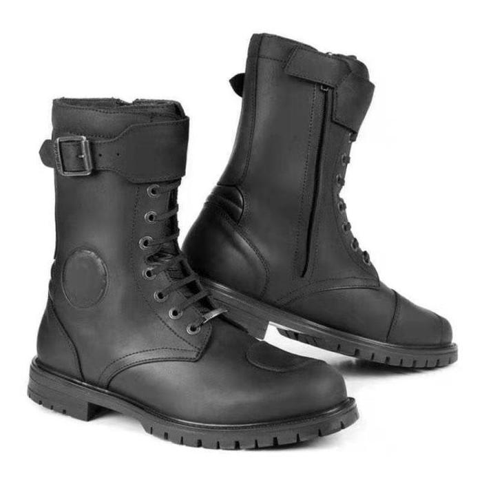 Vintage casual round tie leather boots