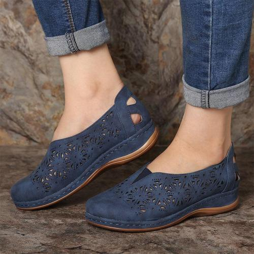 Women's Hollow Out Elastic Band Round Toe Slip On Flat Shoes