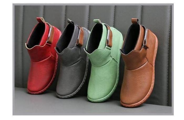Arch Support Orthopedic Unisex Leather Ankle Vintage Flat Boots