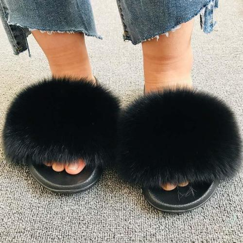Female Indoor Flip Flops Casual Raccon Fur Sandals Furry Fluffy Plush Shoes