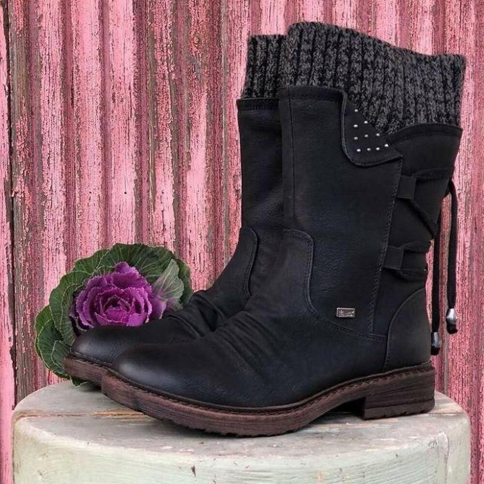 Women Winter Mid-Calf Boots Suede Warm