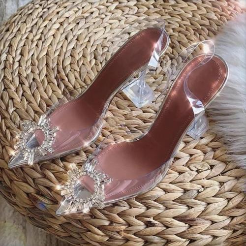 Women Pointed Clear Crystal Cup High Heel