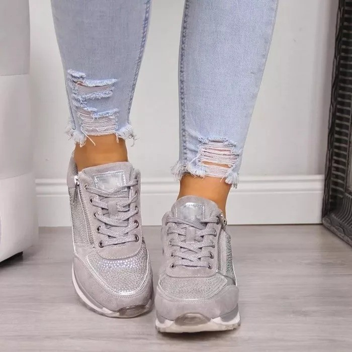 Women Zipper Lace Up Orthopedic  Sneaker