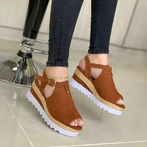 Women Hollow-out Peep Toe Buckle Strap Wedge Heel Sandals  (buy 2 get 10% off & free shipping worldwide)