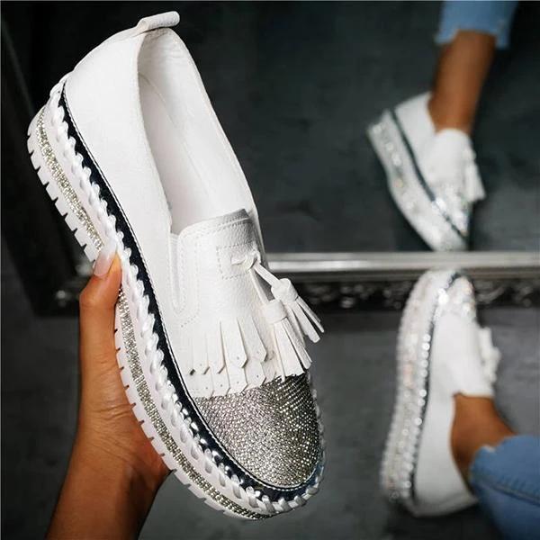 Women's Trendy Sparkle Rhinestones Tassel Slip On Platform Loafers  (Orthopedic  and Diabetic)