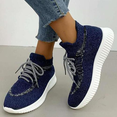 Womens Woven Lace Up Fashion Sneakers