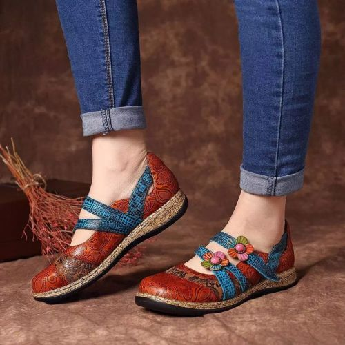 Women Retro Leather Painted Embossed Floral Soft Footbed Orthopedic Shoes ( 𝗯𝘂𝘆  𝟮 𝗴𝗲𝘁  𝟭𝟬%  𝗼𝗳𝗳   & 𝗳𝗿𝗲𝗲  𝘀𝗵𝗶𝗽𝗽𝗶𝗻𝗴   𝘄𝗼𝗿𝗹𝗱𝘄𝗶𝗱𝗲 )