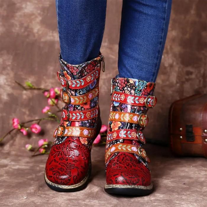 Womens Retro Small Flowers Metal Buckle Zipper Flat Short Boots