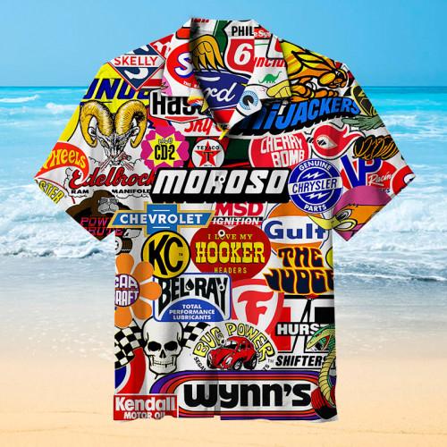 Racing Car Labeling Hawaiian Shirt