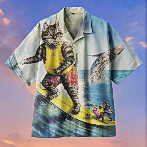 Amazing Cat And Mouse Surfing Hawaiian shirt