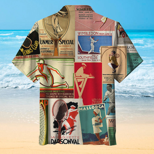 The great tennis poster Hawaiian shirt in history
