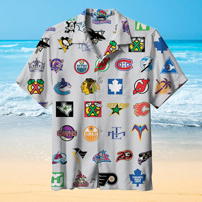 NHL hockey logo Hawaiian shirt