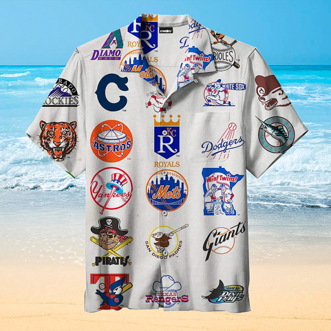 MLB team vintage logo Hawaiian shirt
