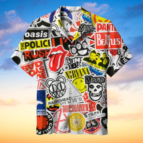 Retro rock style Hawaiian shirt