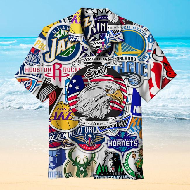 NBA team logo basketball style Hawaiian shirt