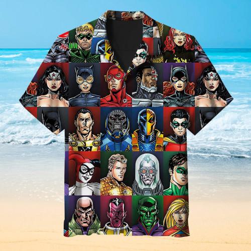 Hawaiian shirt with faces of DC Comics