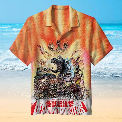 Godzilla, King of Monsters launches an offensive丨Hawaiian shirt