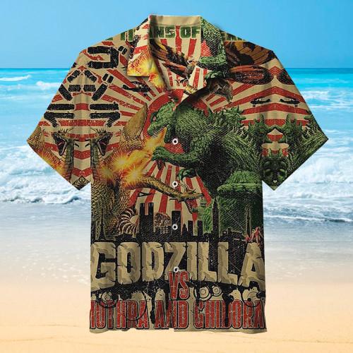 Godzilla vs Mothra and Ghidorah Hawaiian shirt