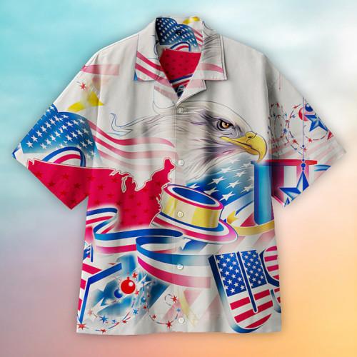 Solemn bald eagle Hawaiian shirt