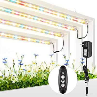 Plant Grow Light, LM301B Chips & Red Full Spectrum T5 Grow Lamp with Timer Plant Lights Bar 4 Dimmable Levels for Indoor Tent Seedling Hydroponics - 4Pack
