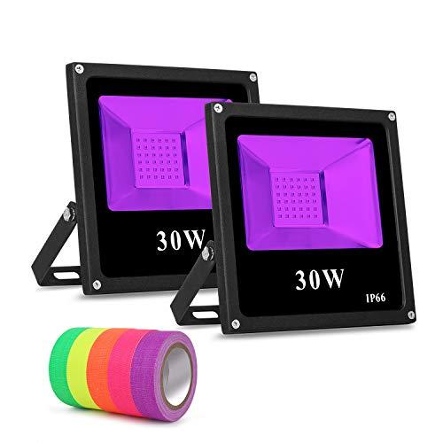 Roleadro Black Light 2 Pack Flood Light Bulb, 30w Led Floodlight Outdoor IP66 Waterproof Stage Light for Blacklight Party, 5 Fluorescent Neon Glow Gaffer Tape, Glow in Dark Party