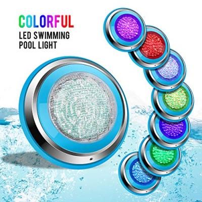 Roleadro Led Pool Lights, Waterproof IP68 47W RGB Swimming Pool Light Multi Color, 12V AC/DC Led Inground Pool Light Control with Remote Controller - 16ft Cord