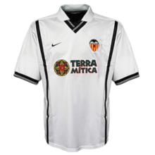 2000-2001 Valencia Home White Retro Soccer Jersey