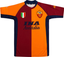2001-2002 AS RM Red And Yellow Retro Soccer Jersey
