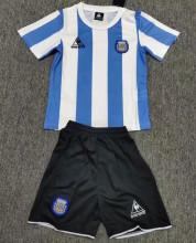 1986 Argentina Home Retro Kids Soccer Jersey