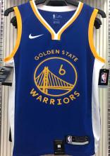 2021 Warriors YOUNG #6 V-Neck Blue NBA Jerseys Hot Pressed