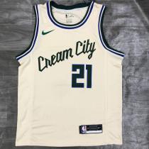 2021 Bucks HOLIDAY # 21 Beige NBA Jerseys Hot Pressed