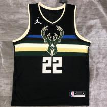 2021 Bucks Jordan MIODLETON # 22 Black NBA Jerseys Hot Pressed