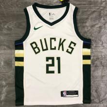 2021 Bucks HOLIDAY #21 White NBA Jerseys Hot Pressed