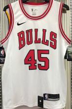 Bulls JDRDAN #45 White NBA Jerseys Hot Pressed